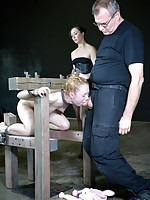 Lunch time is always a mess at RealTimeBondage. Nicki Blue is actually lucky that she is allowed to eat off the floor in relative peace.